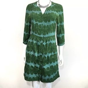 BODEN Corduroy Button Green Blue Circle Dress